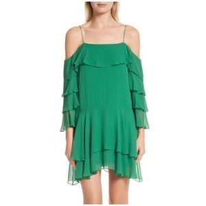 ALICE + OLIVIA LEXIS COLD SHOULDER RUFFLE DRESS